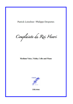 Complainte du Roi Henri for Medium Voice and Piano Trio (Loiseleur/Desportes)